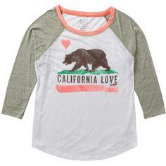 Billabong Women's Bear Hugz Baseball T-Shirt ($15) ❤ liked on Polyvore
