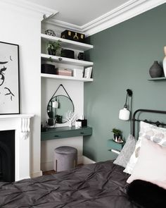 A new angle for you guys on this cozy Sunday eve after a lovely sunny day - the . Bedroom Wall Colors, Room Design Bedroom, Room Ideas Bedroom, Home Room Design, Bedroom Decor, Bedroom Alcove, Sage Green Bedroom, My New Room, Dressing Table