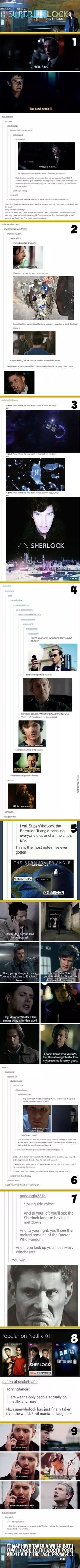 OKAY GUYS LET ME BE HONEST WITH YOU... I need to watch Sherlock and Doctor who... BUT I know so much stuff bc TUMBLR! But yeah I'll watch it. GUYS I NEED SUPERWHOLOCK OKAY IS GOLDEN