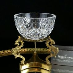 Waterford Crystal Bowl Brass Display Stand Candy Dish by OldGLoriEstateSale on Etsy