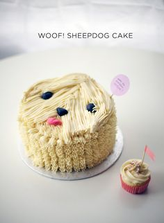sheepdog cake and cupcake friend | by Coco Cake Land