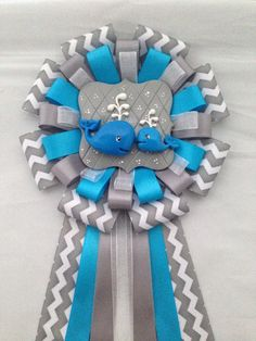 Ahoy Baby Boy theme Mommy and Baby whale Gray by LezlieZDesigns