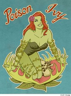 Pin-up style Poison Ivy. Pretty cool, maybe I can talk Teske Goldsworthy Smith to be her for Halloween and then I can be the Penguin? JC can be Batman and Kya and Carson can be Catwoman or Batgirl or Robin or Wonder Woman or Harley Quinn. Poison Ivy Comic, Dc Poison Ivy, Poison Ivy Batman, Poison Ivy Villain, Poison Ivy Dc Comics, Arte Nerd, Nose Art, Gotham City, Catwoman