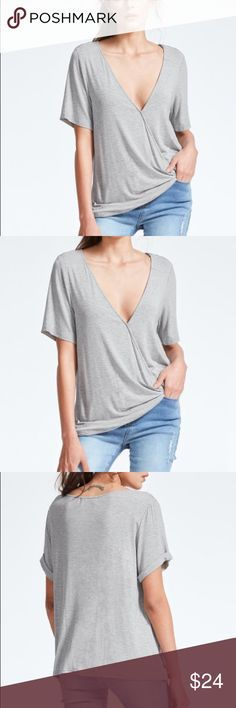 """Deep V-Neck Surplice TEE T-Shirt TOP Grey Modal BRAND NEW!! Effortlessly cool Heather grey surplice tee features short sleeves, a super feminine deep v-neckline, and amazingly cool and comfortable modal fabrication that's perfect for summer. This top pairs perfectly with all your favorite denim jeans.  Material: Modal.   S: Bust: 37.8""""/Length: 23.6"""" M: Bust: 39.4""""/Length:24.1"""" L: Bust: 40.9""""/Length: 24.4""""  🌟🌟Item is Brand New, direct from the Manufacturer, & Sealed in Pkg. 🌟🌟 austin gal…"""