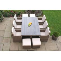 Maze Rattan Winchester 7 Piece Cube Set with Footstool Furniture