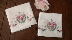 Vintage Pillowcases Embroidered Hearts & Red Flowers, Pair Farmhouse Pillowcases, Vintage White Embroidered Pillow Cases