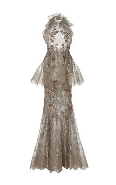 Metallic Lace Fishtail Gown  by MARCHESA for Preorder on Moda Operandi