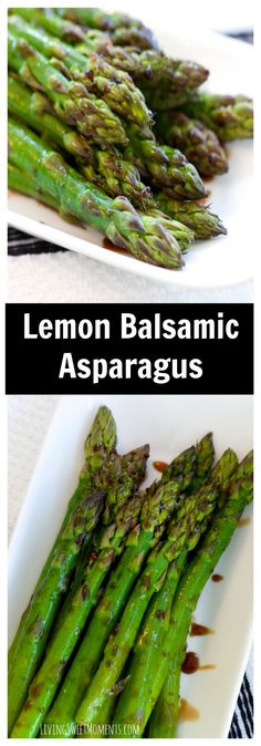 This delicious Lemon Balsamic Asparagus Recipe is perfect for a quick and healthy side dish weeknight meal. It's tangy, sweet and very flavorful. More healthy side dishes at livingsweetmoments.com via @Livingsmoments
