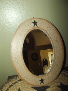 Primitive Crackle Painted Wood Framed Oval Mirror ~  Black Stars ~ Country Decor #NaivePrimitive