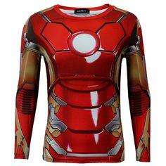 New Men Long / Short Sleeve T-shirt Marvel DC Comics Tee Ironman Red Cosplay Top #OWN #BasicTee