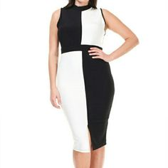 CURVY GIRLS ONLY Sleeveless Black and White Bodycon Large Checkered Pattern on Front of Dress Front Slit   PLUS SIZE ONLY 1X 2X 3X Available  Brand new Wholesale Purchase, No Retail Tags Attached Symphony Dresses