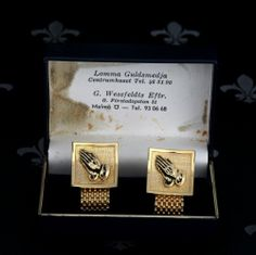 SWEDISH Vintage Gents Gold Mesh Wraparound Cufflinks Praying Hands Original Box