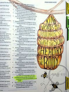 Artsy Faith: Proverbs 16:24 Bible Art Journaling, Memory verses, Bible Journaling