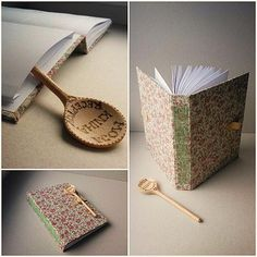 Handmade bookbinding Original recipe book with interesting fastened with spoon decorated by pyrography http://www.ardeas.sk/