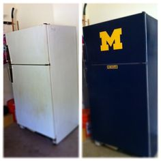 I turned my eyesore 2nd fridge in the garage into a Michigan Cheerleader.  #goBlue #Michigan
