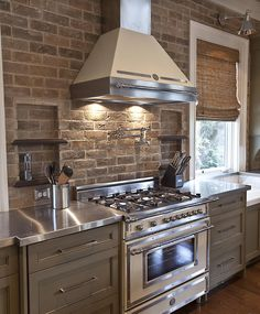 Exposed brick, stainless steel counter top -LJKoike