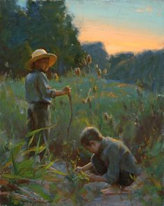 Two boys on in the field