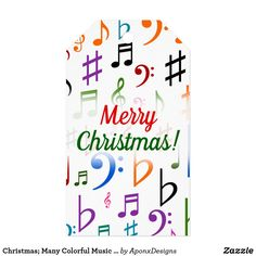 Many Colorful Music Notes and Symbols Gift Tags - christmas craft supplies cyo merry xmas santa claus family holidays Holiday Gift Tags, Christmas Holidays, Music Teacher Gifts, Music Teachers, Custom Ribbon, Old Newspaper, Personalized Gift Tags, Present Gift, Family Gifts
