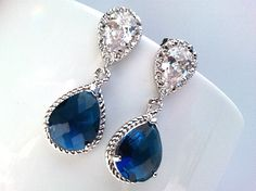 If only I had somewhere to wear them!    Sapphire Blue drop Earrings Wedding Jewelry by LaLaCrystal on Etsy, $29.50