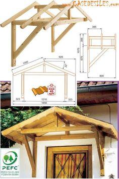 Auvent en bois à Prix Discount : Auvent en bois de fenêtre et porte 2 pans MAR2PECO