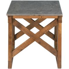 Furniture�::�Accent Tables�::�Rustic Grey Marble Top Side Table