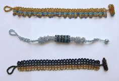 """Top - """"Seashore"""", middle - """"Beaded Bead in Silver"""", bottom - """"Brown Ombre"""" """"Golden Tangerine"""" needle woven (mostly Right Angle Weave) bracelets. Beaded Bead, Right Angle Weave, Woven Bracelets, Weaving, Middle, Beads, Brown, Silver, Top"""