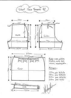 Pattern to make a short skirt. Sizes from 36 to Sizes . Sewing Pants, Sewing Clothes, Diy Clothes, Sewing Patterns Free, Clothing Patterns, Diy Pantalon, Diy Vetement, Creation Couture, Pattern Drafting