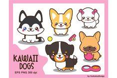 Kawaii dog breeds by CockatooDesign on @creativemarket Draw So Cute Dog, Cocker Spaniel, Shih Tzu, Animal Drawings, Cute Drawings, Kawaii Drawings, Yorkshire, Husky Clipart, Dog Clip Art