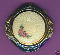 Vintage off White Guilloche Enamel Rimmed in Silver Floral Spray Compact