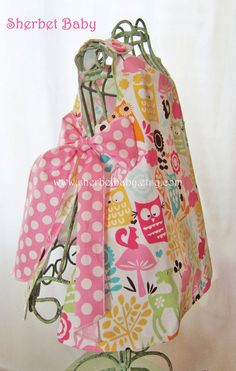 Owl Print Pinafore and Bloomer Set Watermelon by SherbetBaby