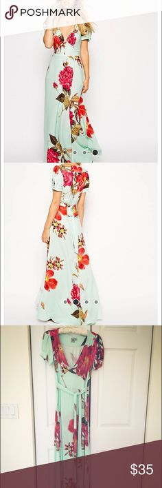 Asos floral maxi dress Light chiffon. Mint with pink/red flowers. Belt to tie on the front or back. Very long. Deep V low neck. Fits for us4 also. ASOS Dresses Maxi