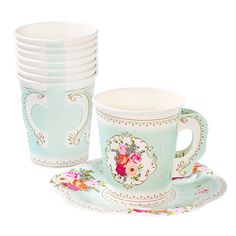 Our Tea Party Cups with Handle are a darling addition to your tea party table! They have a sophisticated floral design and coordinate with our entire tea party collection. Quantity: 12 Paper Cups and