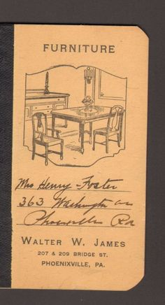 Undated Advertising Memo Book Walter W James Furniture Phoenixville PA