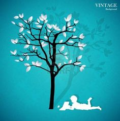 Background with children read a book under tree.  Stock Photo - 14238323