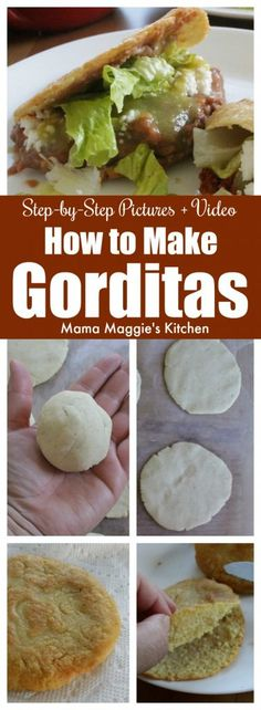 Learn how to make Gorditas This is one of the most classic Mexican food recipes Corn dough thats cut in half and stuffed with a yummy filling Talk about delicious by Mama. Authentic Mexican Recipes, Mexican Food Recipes, Ethnic Recipes, Mexican Desserts, Spanish Food Recipes, Gourmet Recipes, New Recipes, Favorite Recipes, Healthy Recipes