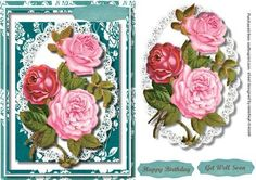 - A lovely card to make and give to any female on her birthday Beautiful roses on a lace mat a lovely card has two greeting t. Polka Dot Shoes, Blue Polka Dots, Aqua Christmas, 3d Sheets, Quick Cards, Beautiful Roses, Decoupage, Birthday Cards, Projects To Try