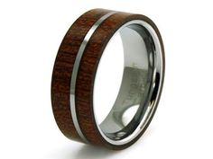 Men's Titanium Mahogany Wood Inlay Flat Wedding Band by Giovonna