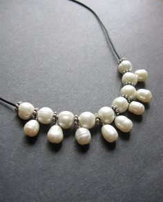 Pearl and Leather Necklace. Pearl Beaded by SimpleElementsDesign
