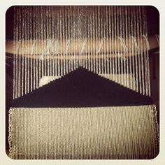 Weaving with Justine Ashbee.  I see a mountain at night, large and black with a moon overhead. lh