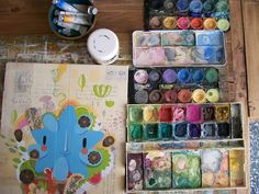"""Nothing quite as lovely as a well used palette.  """"Watercolors, old and new, of Gustavo Aimar."""""""