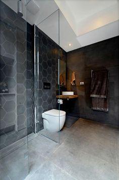 carrelage gris foncé design hexagonal