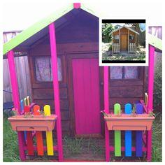 Cubby house makeover. Rainbow colour scheme :-)