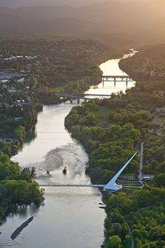 The Sundial Bridge across the Sacramento River at Redding from the air.