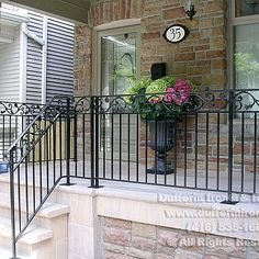 Patio Design, Exterior Design, Wrought Iron Porch Railings, Front Porch, Entrance, Outdoor Living, House Plans, Outdoor Structures, Porch Ideas