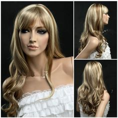 GOOACTION Golden High Light Oblique Bangs Wavy Long Wig for Ladies And Women Wig Shop Lace Wigs