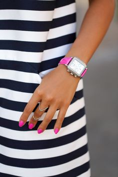 Let your watch do the talking! We love nautical stripes paired with a bright pop of color.