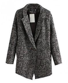 Lapel Collar Long Tweed Coat