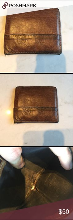 Gucci Wallet Gucci distressed brown leather Monogram wallet. Price reflects condition. Still has some great years left Gucci Bags Wallets