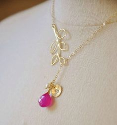Custom Initial 14K Gold Filled Leaf Lariat Necklace with Fuschia Chalcedony, Freshwater Pearl and Gold Disc,- Baby Girl Shower Gift