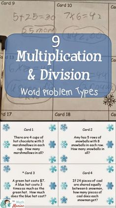 Read more about the 9 problem types for multiplication and division word problems and grab a free sample set of problems to try with your students!